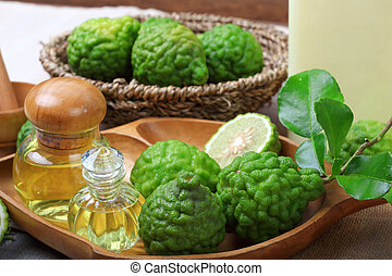 bergamot with aromatic spa of bottles essential oil