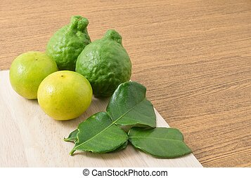 Kaffir Lime with Lemon Lime on Board