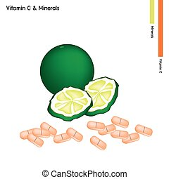 Kaffir Limes with Vitamin C on White Background