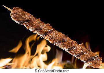 Kafta skewer on a fire background