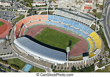 Kaftatzoglio Stadium, Thessaloniki, Greece, aerial view -...