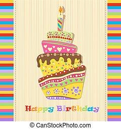 kage, fødselsdag card, glade