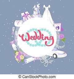 kage, tilbehør, mode, vektor, illustration., automobilen, brude, cirkel, gave, bouquets, klæde, bryllup, banner