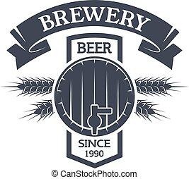 kagge, beer., ölbryggning, årgång, emblem.