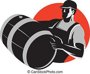 kagge, tunna, bärande, retro, trumma, vin, man