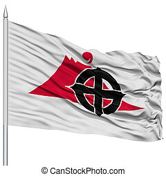 Kagoshima Capital City Flag on Flagpole, Flying in the Wind, Isolated on White Background