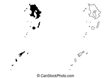 Kagoshima Prefecture (Administrative divisions of Japan, Prefectures of Japan) map vector illustration, scribble sketch Kagoshima map