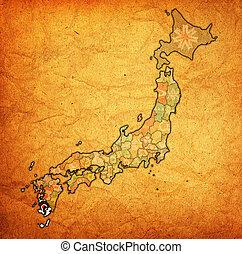 kagoshima prefecture on administration map of japan