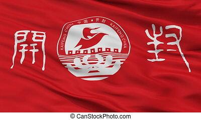 kaifeng, miasto, bandera, closeup, porcelana
