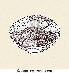 Kaisen Donburi, a bowl of rice with sashimi on top. Hand draw sketch vector.