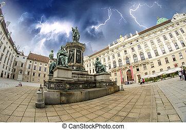Kaiser Franz I statue in Hofburg - Vienna, Fisheye view -...