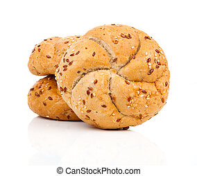 Kaiser roll with sesame seeds, on a white background