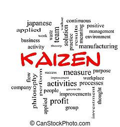kaizen, 単語, 雲, 概念, 中に, 赤, 帽子
