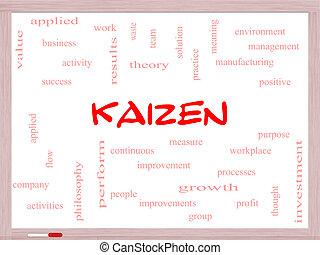 kaizen, 概念, 単語, 雲, whiteboard