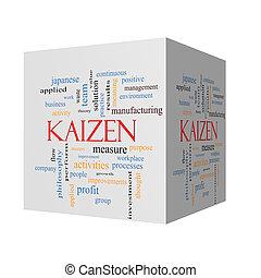 kaizen, 3d, cubo, palabra, nube, concepto