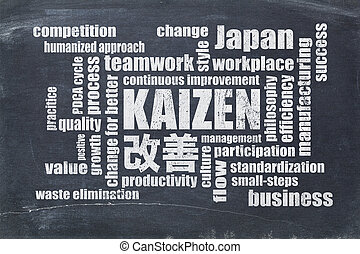 kaizen, conceito, -, contínuo, melhoria, palavra, nuvem