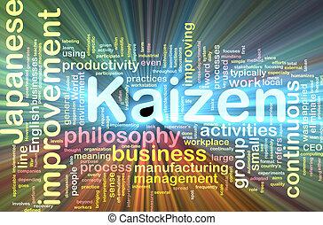 kaizen, mot, nuage, incandescent
