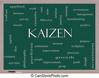 Kaizen Word Cloud Concept on a Blackboard