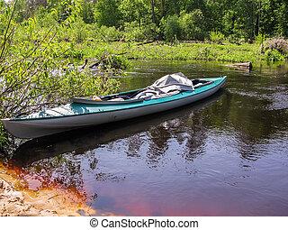 kajak, rzeka, shore., powierzchnia