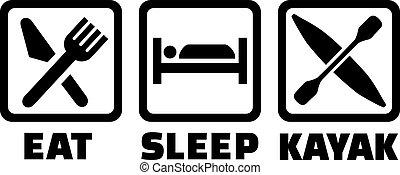 kajak, sömn, äta, ikonen