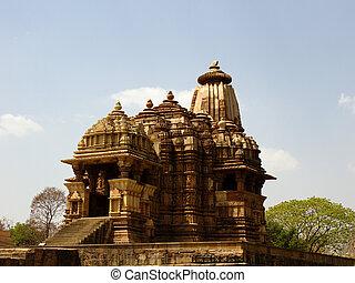 kajuraho., 色, 愛, ヒンズー教信徒, 寺院, 写真, レトロ