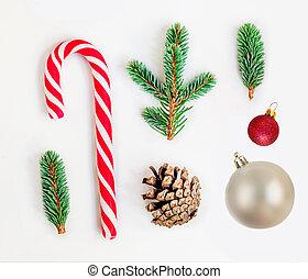 kaka, fura, synhåll, grenverk, komposition, lägga, vit jul träd, godis, jultomten, topp, lägenhet, bakgrund.