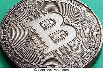 kakau, hintergrund., produkt, crypto, essbare , modell, plastik, währung, physisch, form, bitcoin, grün, lies