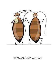 kakerlakker, morsom, konstruktion, din