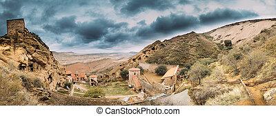 Kakheti Region, Georgia. Panorama Of Ancient Rock-hewn...