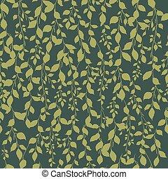 kaki, feuille, couleur, modèle, arbre, seamless, ornement, arrière-plan vert, bouleau, silhouette, branche, botanique