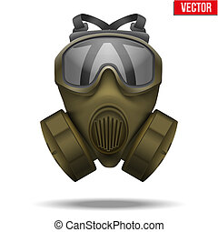 kaki, illustration., masque gaz, vecteur, respirator.