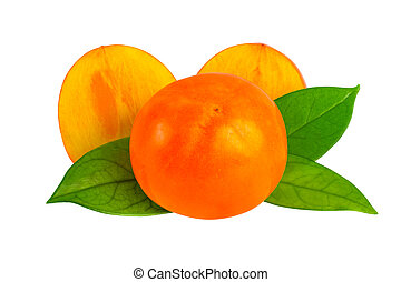 Kaki or persimmon fruits isolated on white with clipping path