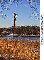 Kaknas tower in Stockholm seen over Djurgardsbrunnsviken
