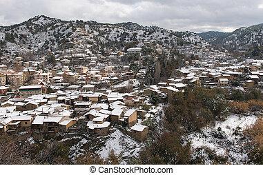 kakopetria, 村莊, 在期間, 冬天, troodos, 塞浦路斯