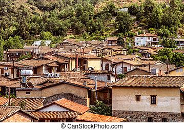 kakopetria, 著名, 獨特, 村莊, 在, troodos, 山。, 塞浦路斯