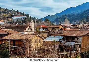 kakopetria, village., a, 獨特, 村莊, 位於, 在, troodos, 山。, nicosia, 地區, 塞浦路斯