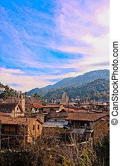 kakopetria, villaggio, posto famoso, in, cipro