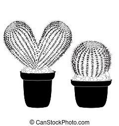 kaktus, cuore ha modellato, vaso, cactus, tatuaggio, segno, per, t-shirt, scheda, valentina, giorno, bandiera, isolato, cactus, vista frontale, in, pot ceramica, bianco, fondo, vettore