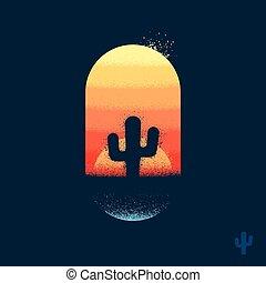 kaktus, emblem, wüste