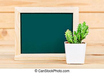 kaktus, zieleń chalkboard, plant., czysty