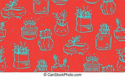 kaktusy, dom, kurtyna, błękitny, succulents, kolorowanie, budowla, pattern., seamless, pustynia, czerwona roślina, ogród, flora, tablecloth, kreska, botaniczny, rysunek, print., tapeta, cacti, wektor, strona
