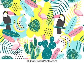kaktusy, tropikalny, próbka, leaves., seamless, czerwonaki, tukan, egzotyczny