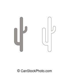 kaktusz, állhatatos, szürke, ikon