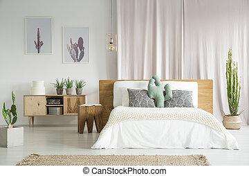 kaktusz, tágas, hálószoba