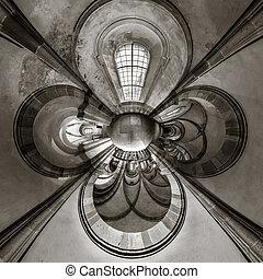 kaléidoscope, vue, de, église gothique, intérieur, peu, planète, effet, de, panoramique, prise vue., andlau, france.