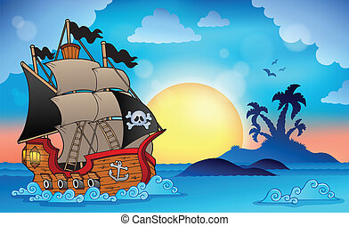 kalóz, hajó, közel, kicsi sziget, 3