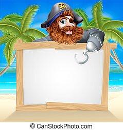 kalóz, tengerpart, karikatúra, aláír