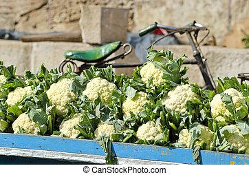 kalafior, azja, ulica, roślina, świeży, targ