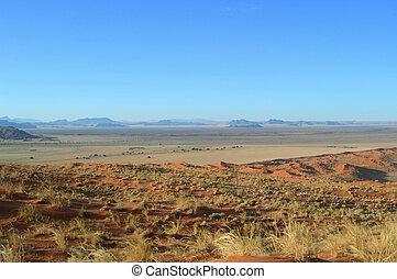 Kalahari desert - Sand dunes in the Kalahari desert,...