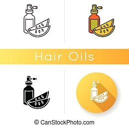 Kalahari melon seed oil icon. Dermatology product for ...